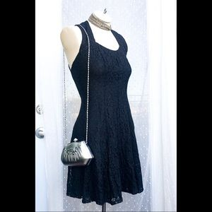 Vintage 90s black lace formal dress